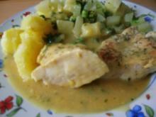 Hähnchenbrustfilet in Kräutersauce und Kohlrabi-Erbsengemüse - Rezept