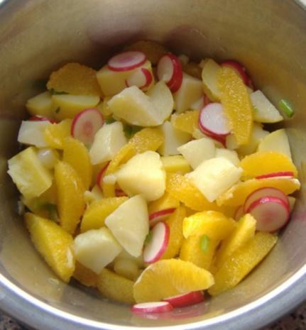 Kartoffelsalat mit Orangen und Bacalao - Rezept - Bild Nr. 4
