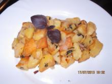 Bratkartoffeln mit rotem Basilikum - Rezept