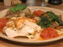 Polle e spinaci con patate al rosmarino (Sina Tkotsch) - Rezept
