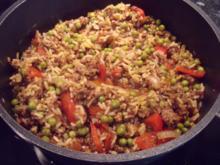 Bolognese-Reistopf; mediterranes Hauptgericht mit Hackfleisch - Rezept