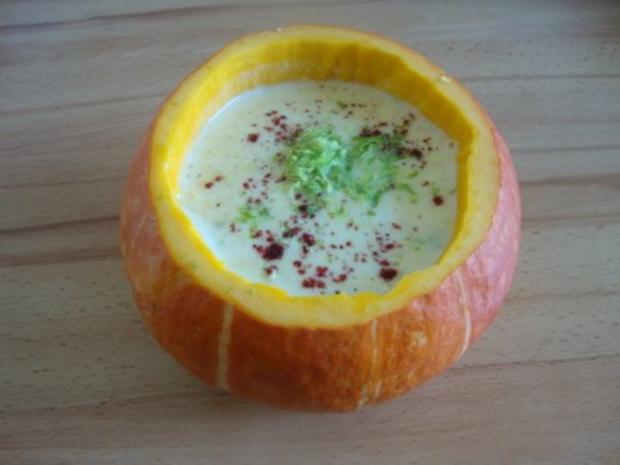 Kürbissuppe aus Kürbispüree, asiatisch angehaucht - Rezept