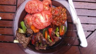 Rezept: Ribeye - Steak - Spieß  mit Chili Salsa