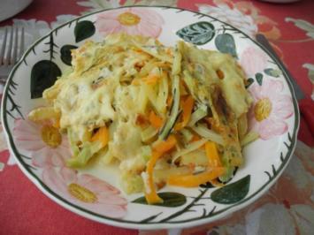 Vegan : Gemüse in Streifen mit Käse überbacken - Rezept