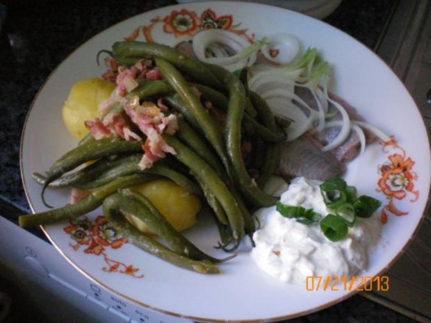 Matjes mit Bohnen-Bacon-Zwiebeln - Rezept
