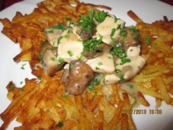 Champigon-Geschnetzeltes mit Kartoffelrösti - Rezept