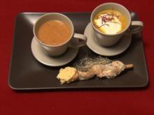 Mango-Curry-Cappuccino mit Ingwersahne  und Bananen-Chili-Süppchen an Hähnchen-Saté - Rezept