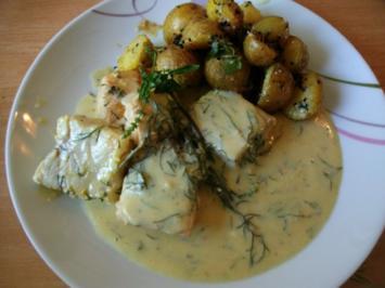 Fisch in Weißwein-Sahne Sauce mit Sesambratlingen - Rezept