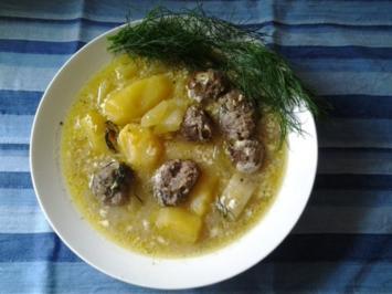 Gurken- Kartoffel- Suppe mit Fleischbällchen ( aus dem Ofen) - Rezept