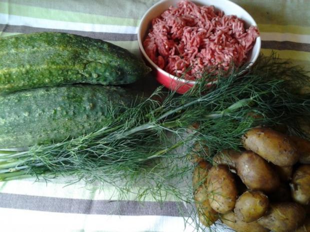 Gurken- Kartoffel- Suppe mit Fleischbällchen ( aus dem Ofen) - Rezept - Bild Nr. 2