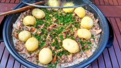Pfifferlinge in Rahm mit Pellkartoffeln - Rezept