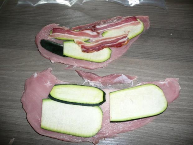 Menü : Zucchinisuppe,Schnitzel gefüllt an Ebly & Gemüse. - Rezept - Bild Nr. 2