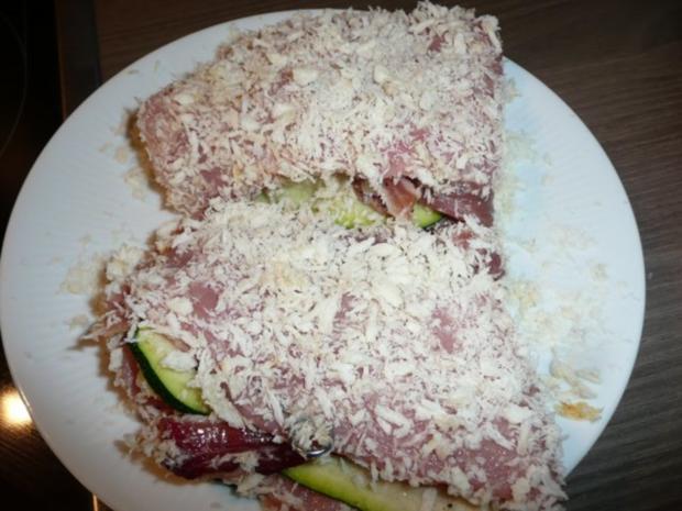 Menü : Zucchinisuppe,Schnitzel gefüllt an Ebly & Gemüse. - Rezept - Bild Nr. 5