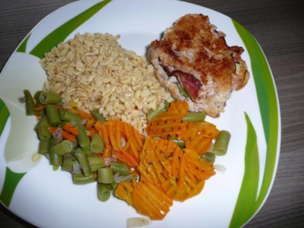 Menü : Zucchinisuppe,Schnitzel gefüllt an Ebly & Gemüse. - Rezept - Bild Nr. 9