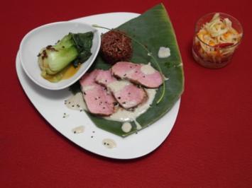 vitello asiatico mit pak choi und papaya salat rezept. Black Bedroom Furniture Sets. Home Design Ideas