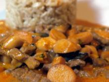 Rindergeschnetzeltes mit Kräuterseitlingen und Vollkorn-Basmati-Reis - Rezept