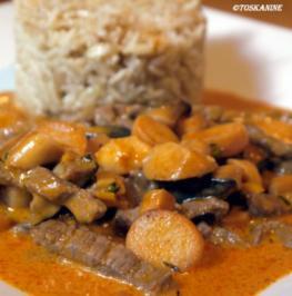 Rezept: Rindergeschnetzeltes mit Kräuterseitlingen und Vollkorn-Basmati-Reis