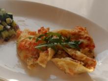 Gratinierte Conchiglie mit Forellen-Ruccola-Füllung in Meerrettich-Limetten-Sosse - Rezept