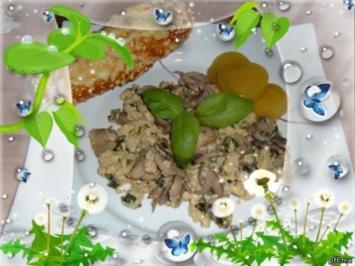 Pfannengericht: :  Champignons - Lauch - Ei - Rezept