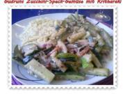 Gemüse: Zucchini-Speck-Gemüse mit Kritharaki - Rezept