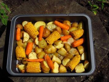 Rezept: In Öl gebackene Maiskolben mit Kartoffeln