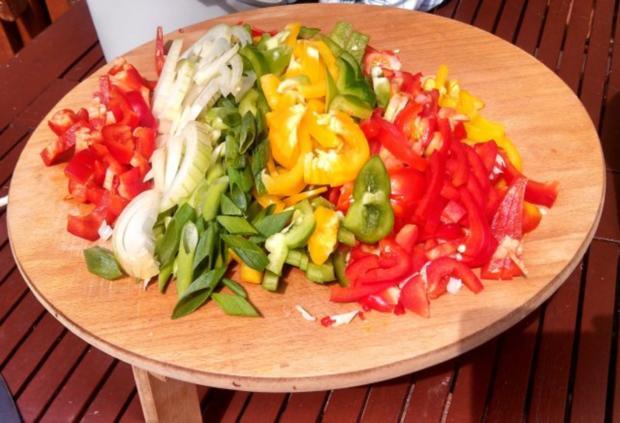 Rind, Schwein & Paprika geschnetzeltes mit Gemüsereis - Rezept - Bild Nr. 3