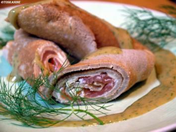 Galettes Bretonnes mit geräuchtertem Lachs und Senf-Dill-Sauce - Rezept