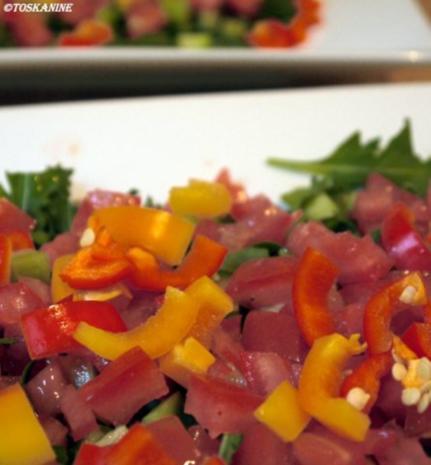 Hähnchenbrust in Pancetta auf sommerlichem Salat - Rezept - Bild Nr. 9