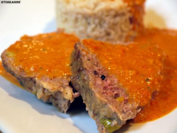 Hackbraten mit Paprika-Gemüse-Sauce - Rezept