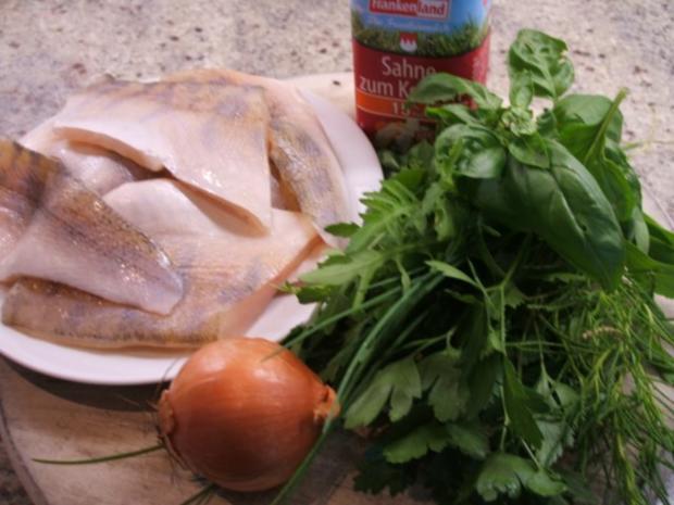 Fisch: Zander gedünstet mit Kräutersoße und Neuen Kartoffeln - Rezept - Bild Nr. 2