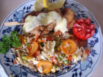Filetspieß mit Gemüse-Eier-Bratreis - Rezept