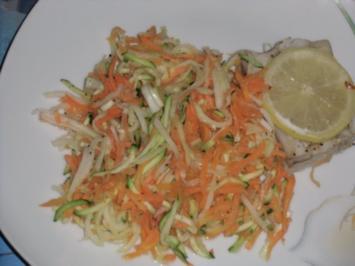 Fisch : Seelachs auf Gemüsebeet im Bratschlauch - Rezept