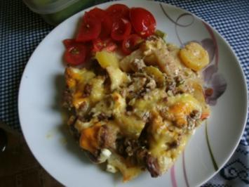 Kartoffel - Kohlrabi Gratin mit  Frischkäse - Hackfleischsauce - Rezept