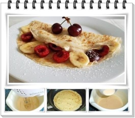 Crêpes mit Kirschen und Banane - Rezept - Bild Nr. 2