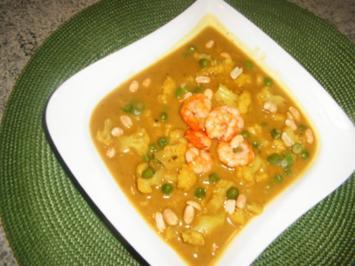 Blumenkohl-Erbsen-Curry-Suppe - Rezept