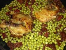 Perlhuhn an Chilli-Honig-Knoblauch mit Reis und Erbsen - Rezept