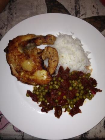 Perlhuhn an Chilli-Honig-Knoblauch mit Reis und Erbsen - Rezept - Bild Nr. 2