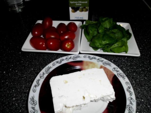 Pasta in einer Schinken-Pilz-Sahne Sauce, dazu Schafskäse, Tomaten mit Basilkum - Rezept - Bild Nr. 8