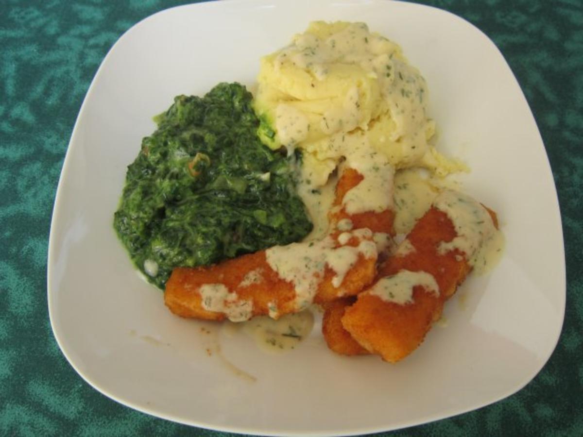 Fischstäbchen mit Spinat und Kartoffelpüree - Rezept Gesendet von Sheeva1960