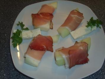 Melone- Schinken und Schafskäse - Rezept