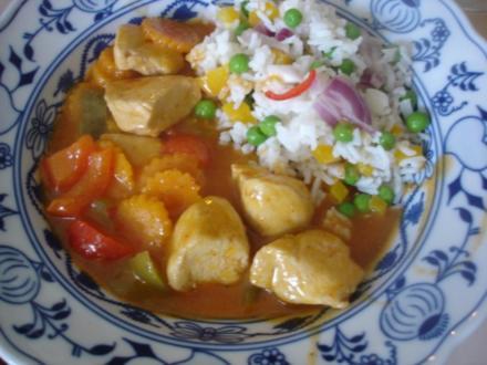 Hähnchenbrustfilet-Curry mit buntem Reis - Rezept