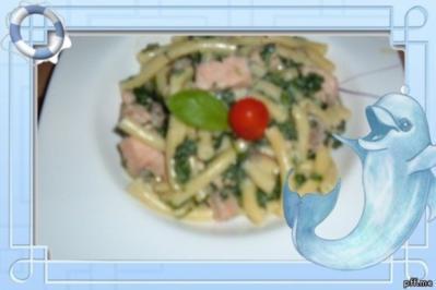 Fisch : Lachs  mit Spinat und Pasta - Rezept