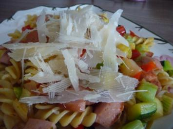 Nudel - Gemüse - Pfanne mit Parmesan - Rezept