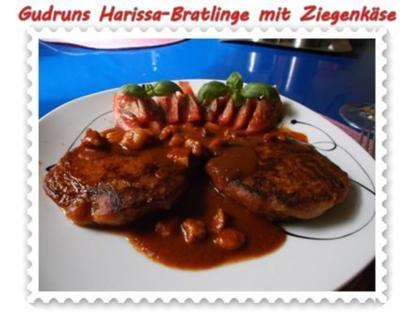 Kartoffeln: Harissa-Bratlinge mit Ziegenkäse und Tomatensoße - Rezept
