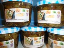 Zucchinichutney mit Rosinen-Ingwer-Kardamom - Rezept