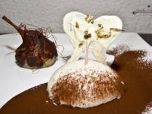 Gefüllte Birnenkeule in Schoko - Chilikruste  und himmlische Kaffee- Panna Cotta - Rezept