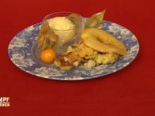 Karamellisierter Apfelschmarrn mit Weißbiereis - Rezept