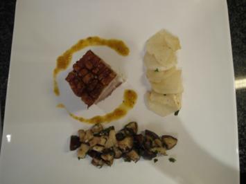 Schweinebauch mit Rüben und Pilzen - Rezept