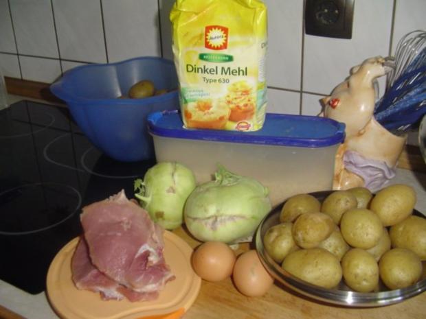 Schnitzel und  Kohlrabipommes mit Petersielkartoffeln - Rezept - Bild Nr. 2