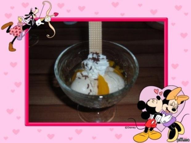 Eis :  Banane - Pfirsich - Rezept